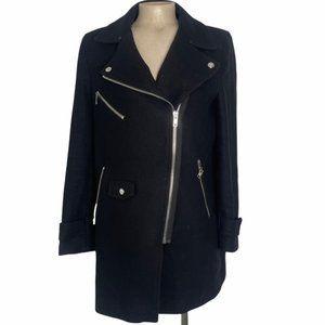 ZARA Black Full Front Asymmetrical Zip Pea Coat Winter Jacket Large - Pre-Owned